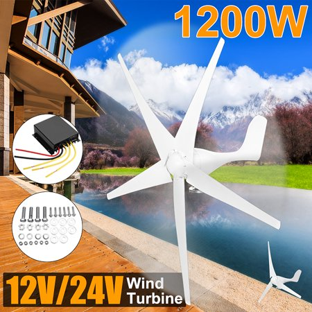1200W Wind Turbine Generator 12-24V 5 Blades (Diameter of the wind wheel is 1.4m) With Control ()