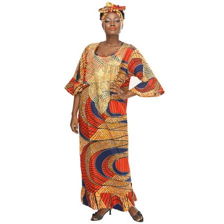 African Village Women's Dress Printed 70's Hippie Maxi Caftan Gele - 70s Dress Up
