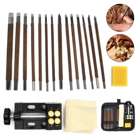 18in1 Manual carving knife Craft Tool Kit Wood Steel Stone Carving Engraving Chisels Knife Gravers with Storage Bag ()