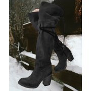 Women High Heel Knee High Lace Up Boots