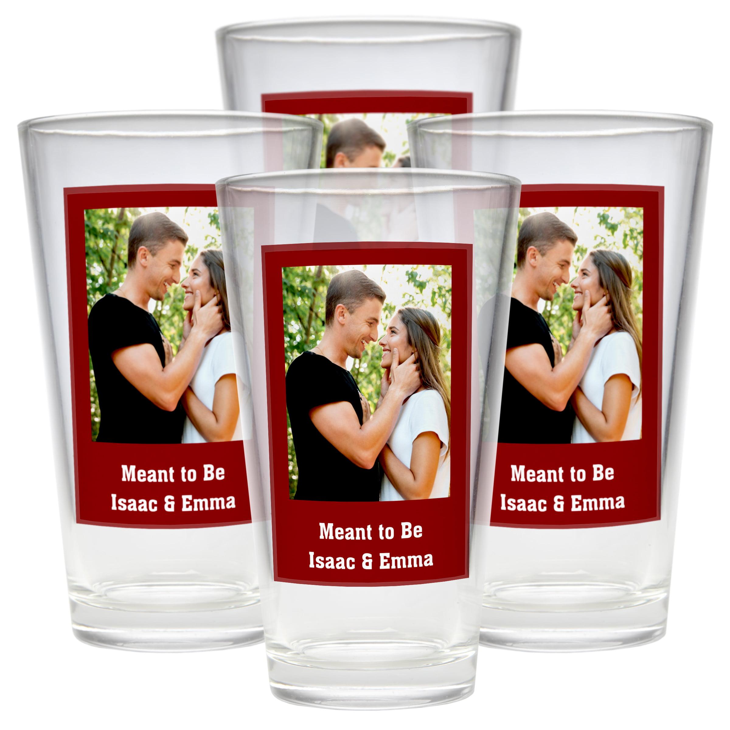 Personalized Photo Message Pub Glass - Set of 4 - Single Personalized Photo - Green