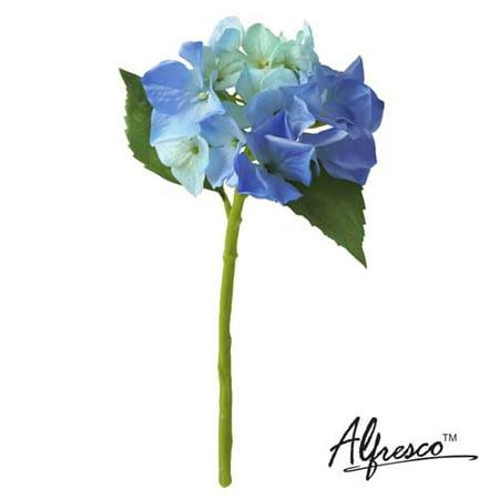 "Image of 12""Alfresco Decorative Artificial Flower Blue Hydrangea"