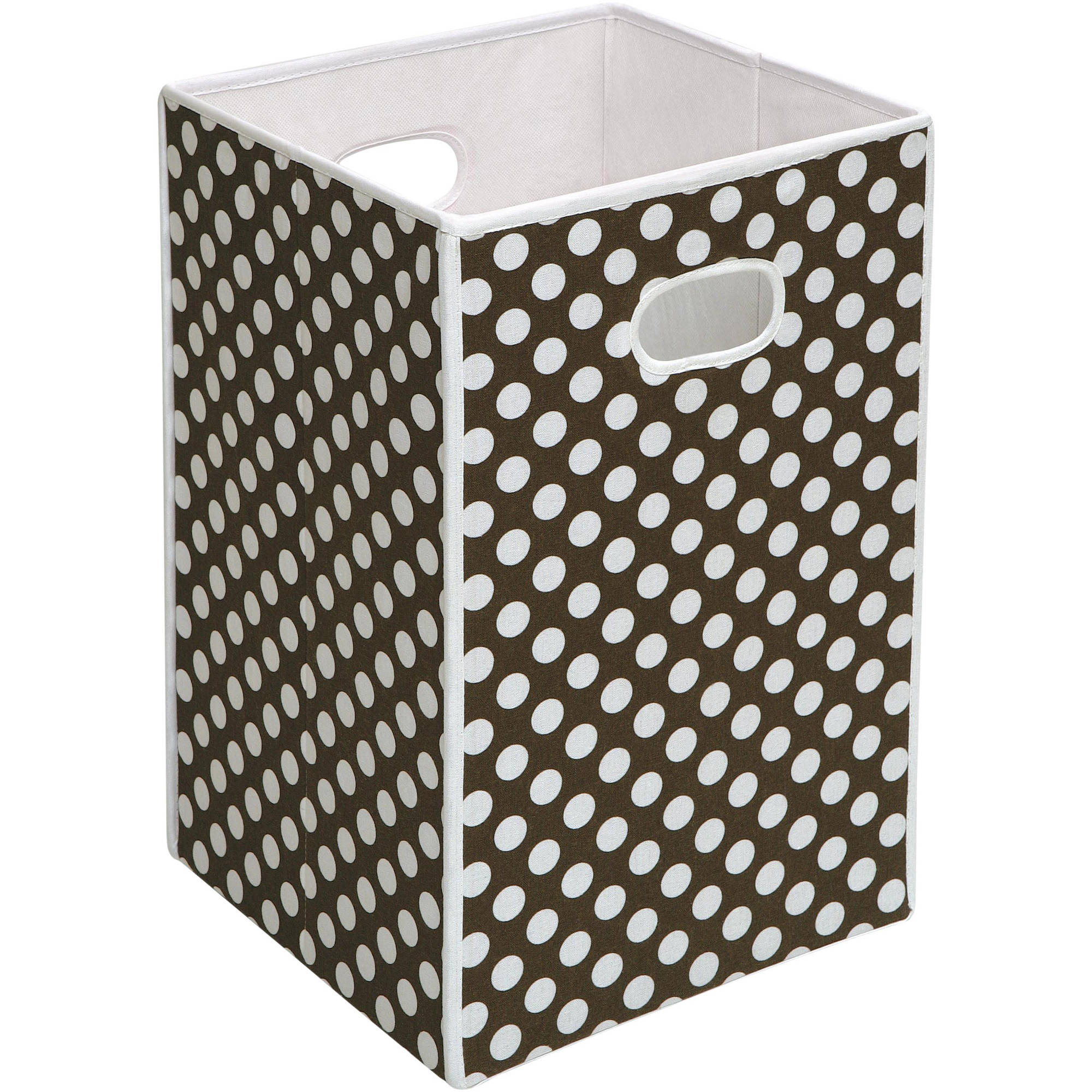 Badger Basket Folding Hamper Storage Bin, Brown with White Polka Dots by Badger Basket