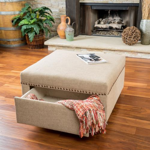 Ordinaire Christopher Knight Home Darby Square Fabric Storage Ottoman