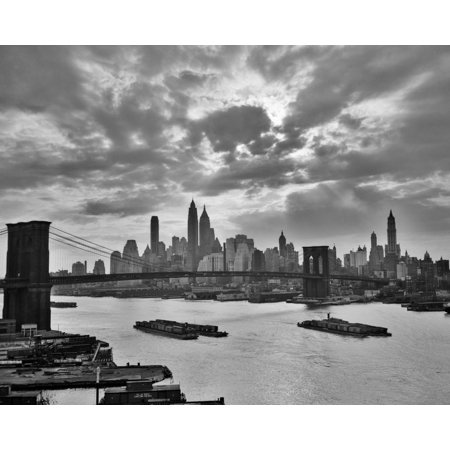 1940s-1950s Dramatic Sunset Downtown New York City Skyline With Brooklyn Bridge Barges In East River Nyc Ny Usa Print (Downtown Brooklyn Nyc)