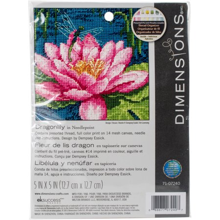 """Dimensions Mini Needlepoint Kit 5""""X5""""-Dragon Lily Stithced In Thread - image 1 of 1"""