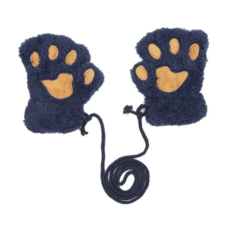 Winter Warm Fluffy Plush Bear Paw Claw Glove Novelty Halloween Soft Hanging Neck Half Finger Gloves blue Children (3-12 years old)](Marzipan Halloween Fingers)