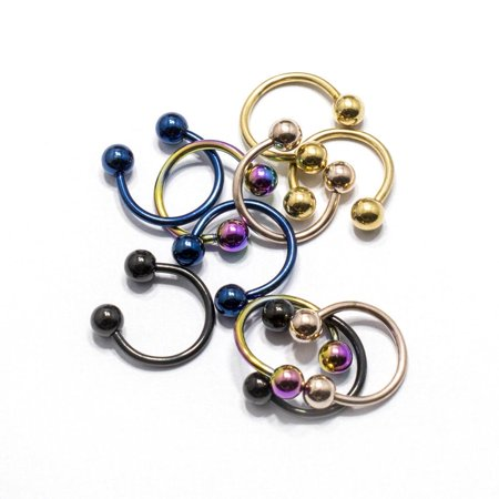 Circular Horseshoe Barbell 10 Pack Septum Lip Nose Anodized Surgical Steel 16G