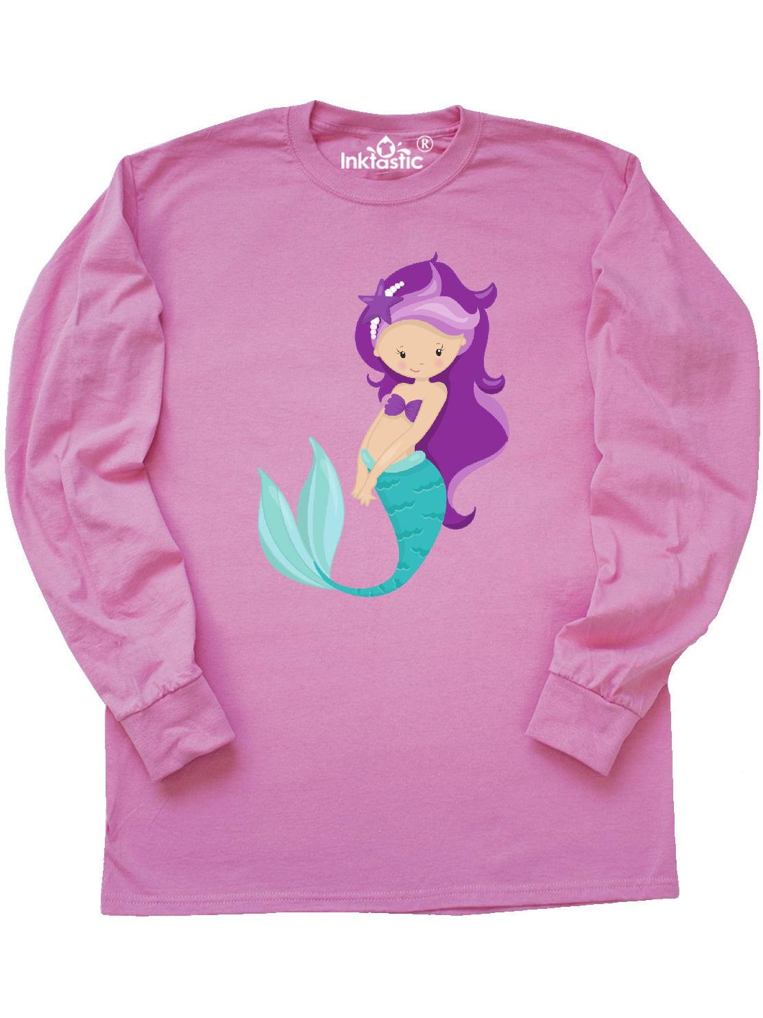 inktastic Cute Little Mermaid Purple Hair Purple Sea Star Toddler T-Shirt