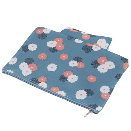 Flower Pattern Zippered Drawer Dividers Underwear Bra Organizer Storage Bag Blue - image 2 of 5