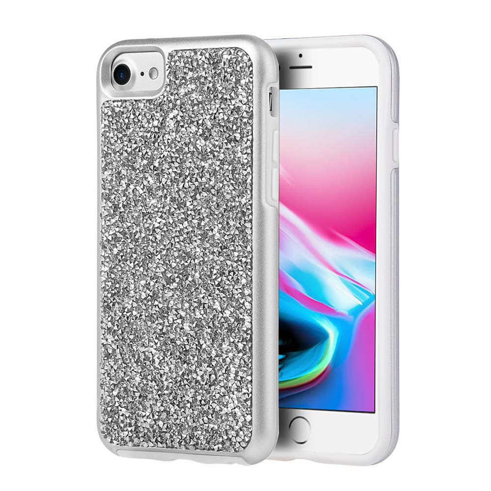 iPhone 8 Diamond Case, Glitterati Brilliant Tough Case Diamond Platinum Collection Hybrid Dual Layer Case Bumper Cover for Apple iPhone 8 - Silver
