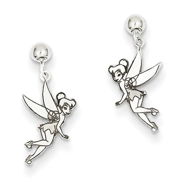 Sterling Silver Disney Tinker Bell Dangle Post Earrings