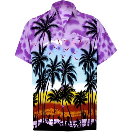 Hawaiian Shirt Mens Beach Aloha Camp Party Casual Holiday Short Sleeve Button Down Pocket Tropical Palm Tree Print Q