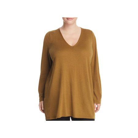 Eileen Fisher Womens Plus Merino Wool Long Sleeves Pullover Sweater