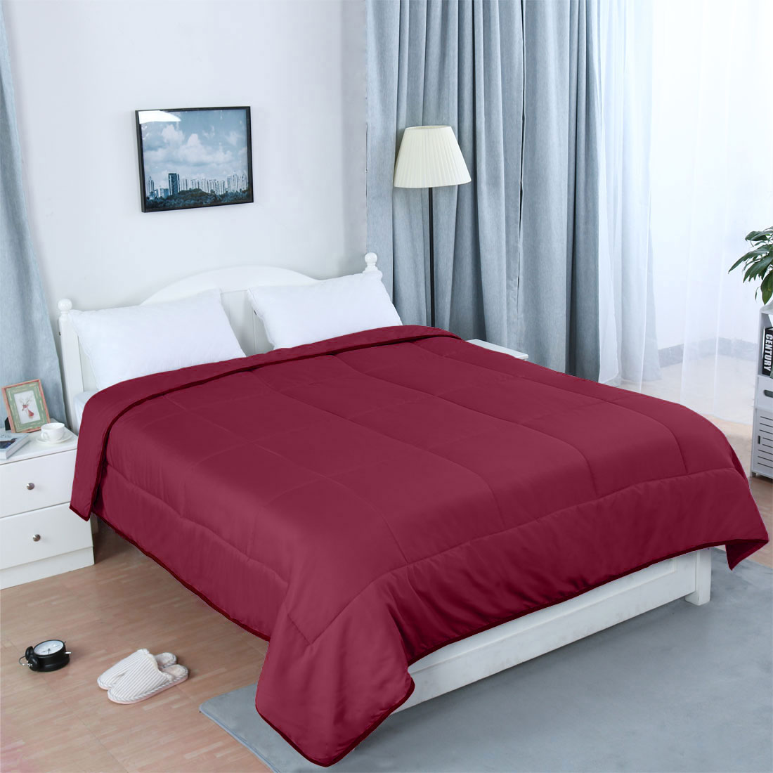 All-season Comforter Quilted Down Alternative 100% Polyester Burgundy King