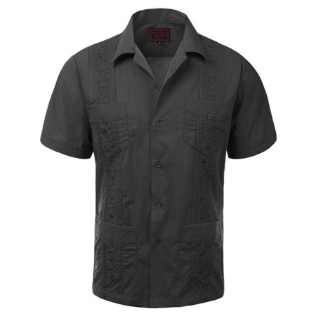 Maximos Men's Guayabera Summer Casual Cuban Beach Wedding Vacation Short Sleeve Button-Up Casual Dress Shirt Dark Gray XL