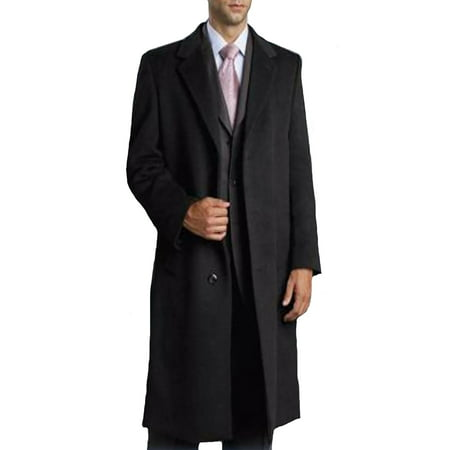 Mens Single Breasted Three Button Black Coat Full Length Wool and Cashmere Overcoat