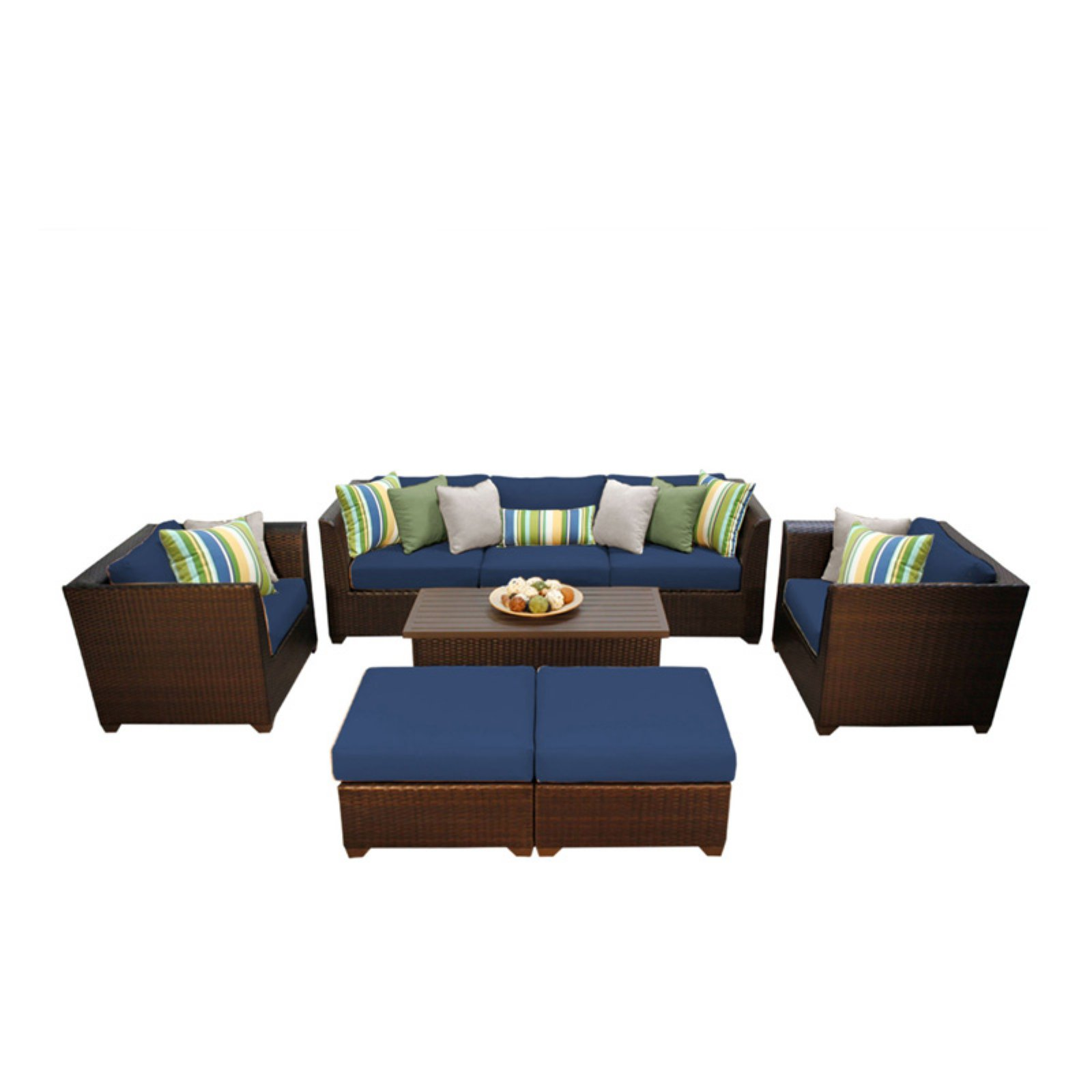 TK Classics Barbados Wicker 8 Piece Patio Conversation Set with Ottoman and 2 Sets of Cushion Covers