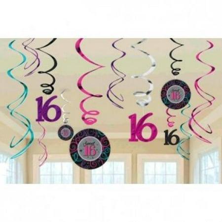Celebrate Sweet 16 Birthday Party Swirl Decorations - 12ct (Ideas Sweet 16)