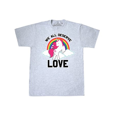 We All Deserve Love with Unicorn Clouds and Rainbow