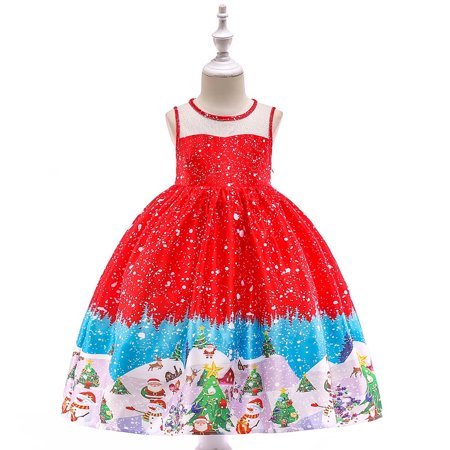 Iuhan Toddler Kids Baby Girls Santa Print Princess Dress Christmas Outfits Clothes - Children Christmas Clothing