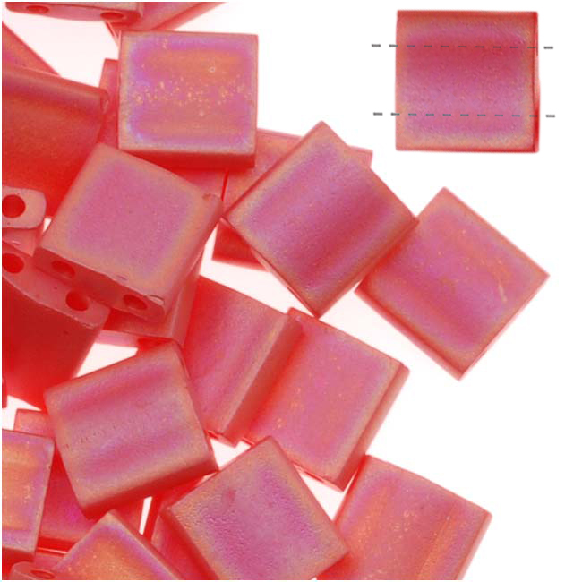 Miyuki Tila 2 Hole Square Beads 5mm 'Matte Opaque Red AB' 7.2 Grams