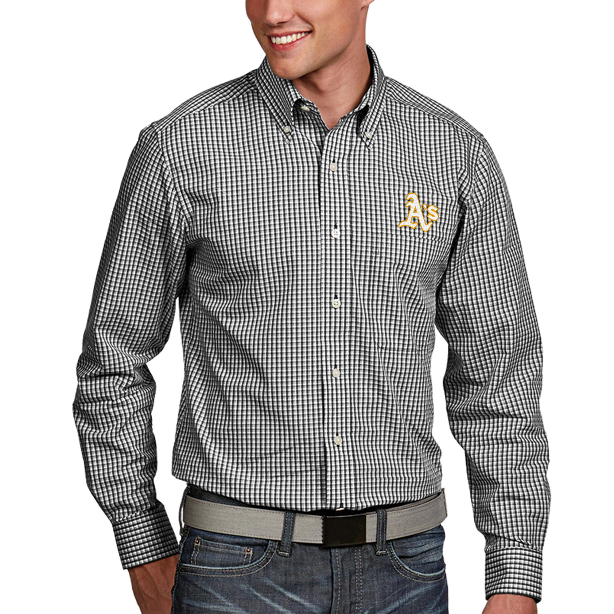 Oakland Athletics Antigua Associate Woven Big & Tall Long Sleeve Button-Down Shirt - Black