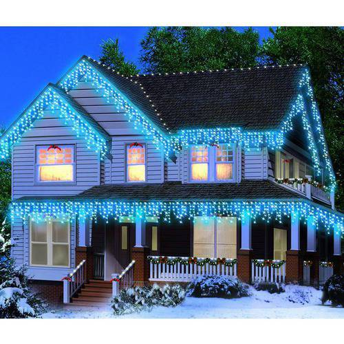 Holiday Time Icicle Light Set White Wire Blue Bulbs, 300 Count