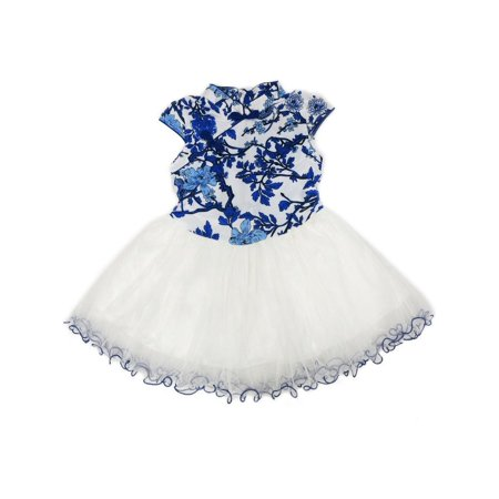 Wenchoice Little Girls Blue White Chinese Printing Silk Cheongsam Dress