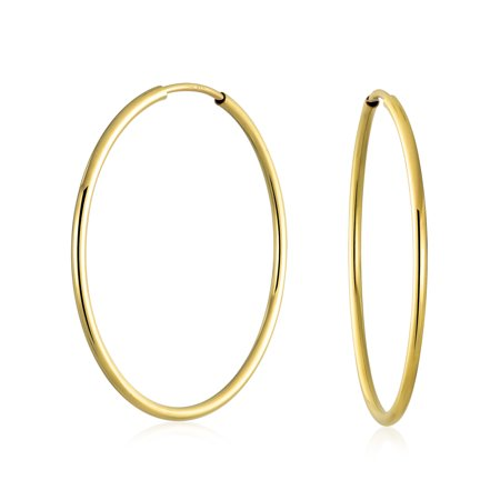 Minimalist Round Endless Continuous Thin Tube 10K Yellow Gold Filled Hoop Earrings For Women Shinny Finish 1.5 inch -