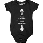 Crazy Dog TShirts - Food Enters Here Food Exits Here Funny Baby Creeper Bodysuit for Newborns (Black) - Black