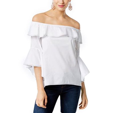 b8995b83a5223 INC International Concepts - INC INTERNATIONAL CONCEPTS Size M Cotton Ruffled  Off-The-Shoulder Top WHITE - Walmart.com
