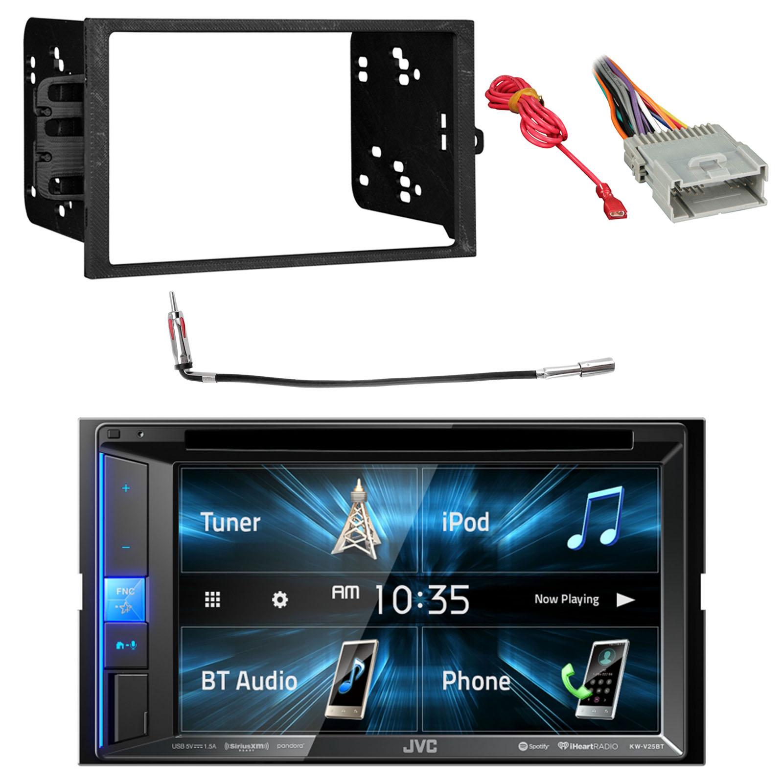 JVC KWV25BT 2DIN BT Car Stereo Receiver w/Touchscreen w/Metra 95-2001 2DIN Install Kit for Select 1990-Up GM, Metra 40-GM10 Antenna Adapter for 98-2006 GM Car & Metra 70-2003 Radio Wiring Harness