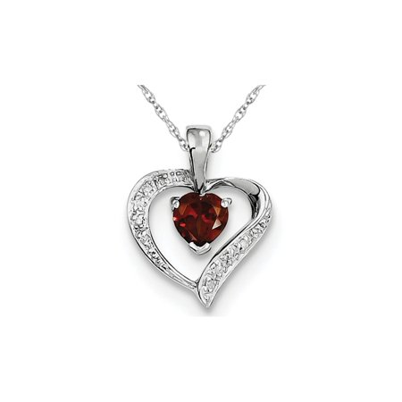 Natural Red Garnet 1/2 Carat (ctw) Heart Pendant Necklace in Sterling Silver and -