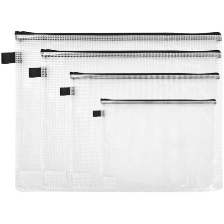 Nova Filer Reinforced Mesh Zipper Bag Vinyl 4 Assorted Sizes Clear