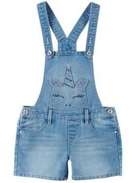 Squeeze Big Girls Unicorn Embroidered Denim Shortalls