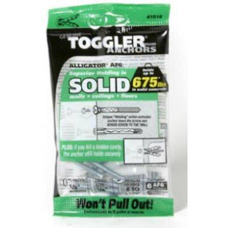 """5PK Toggler Alligator 1/4"""" Diameter AF6 Flanged Solid Wall Anchors"""