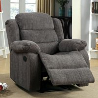 Furniture of America  Renn Casual Chenille Upholstered Recliner Grey