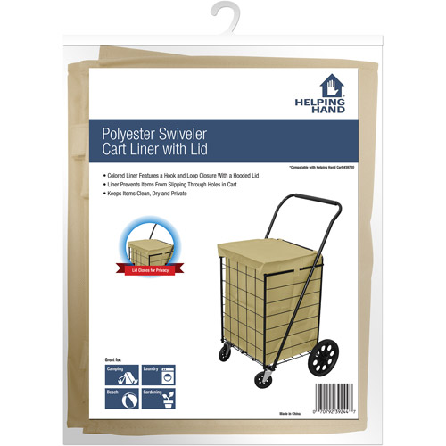 Helping Hand Polyester Swiveler Cart Liner with Lid, Linen