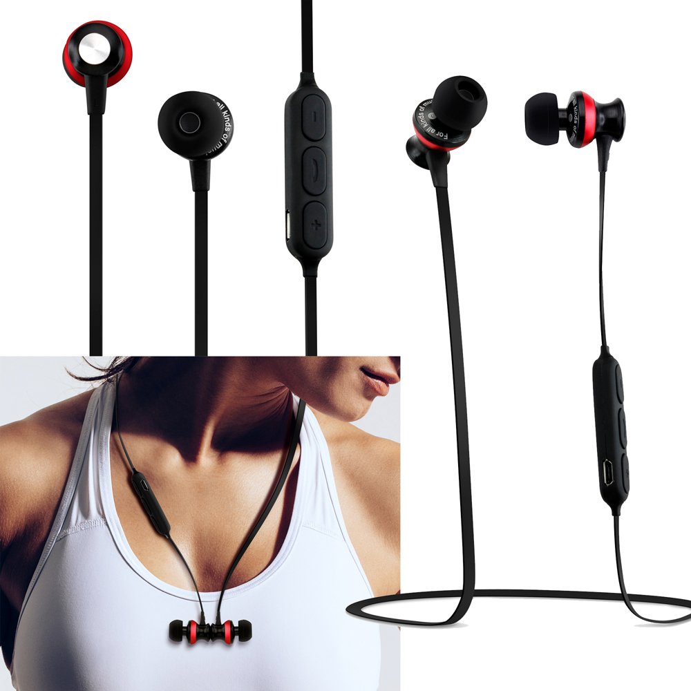 Sports Magnet Wireless Bluetooth Earphones Headsets Earbud Stereo Bass Headphones with Mic - Black