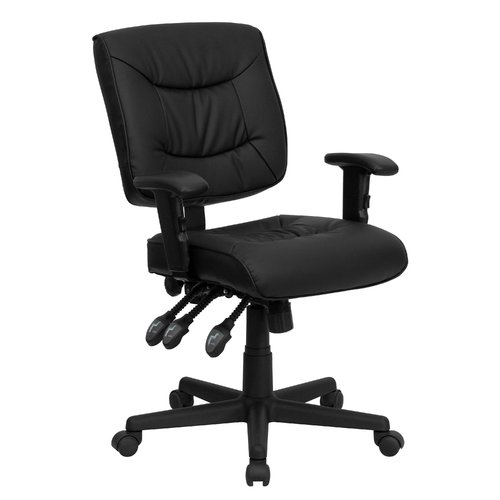 Flash Furniture Leather Desk Chair with Arms, Black
