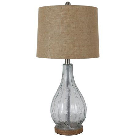 "27.5"" Emma Embossed Glass Table Lamp Clear - Decor Therapy"