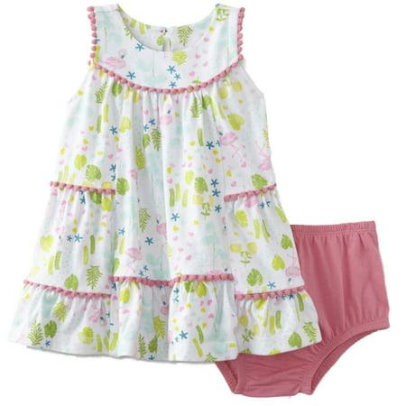 Infant Girls 2 PC Baby Outfit Pink Flamingo Sundress Dress & Panty Set](Baby Flamingos)