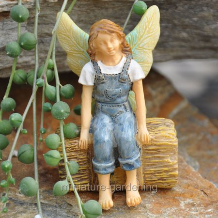 Woodland Knoll Fairy Sitting on a Haystack for Miniature Garden, Fairy - Woodland Faries