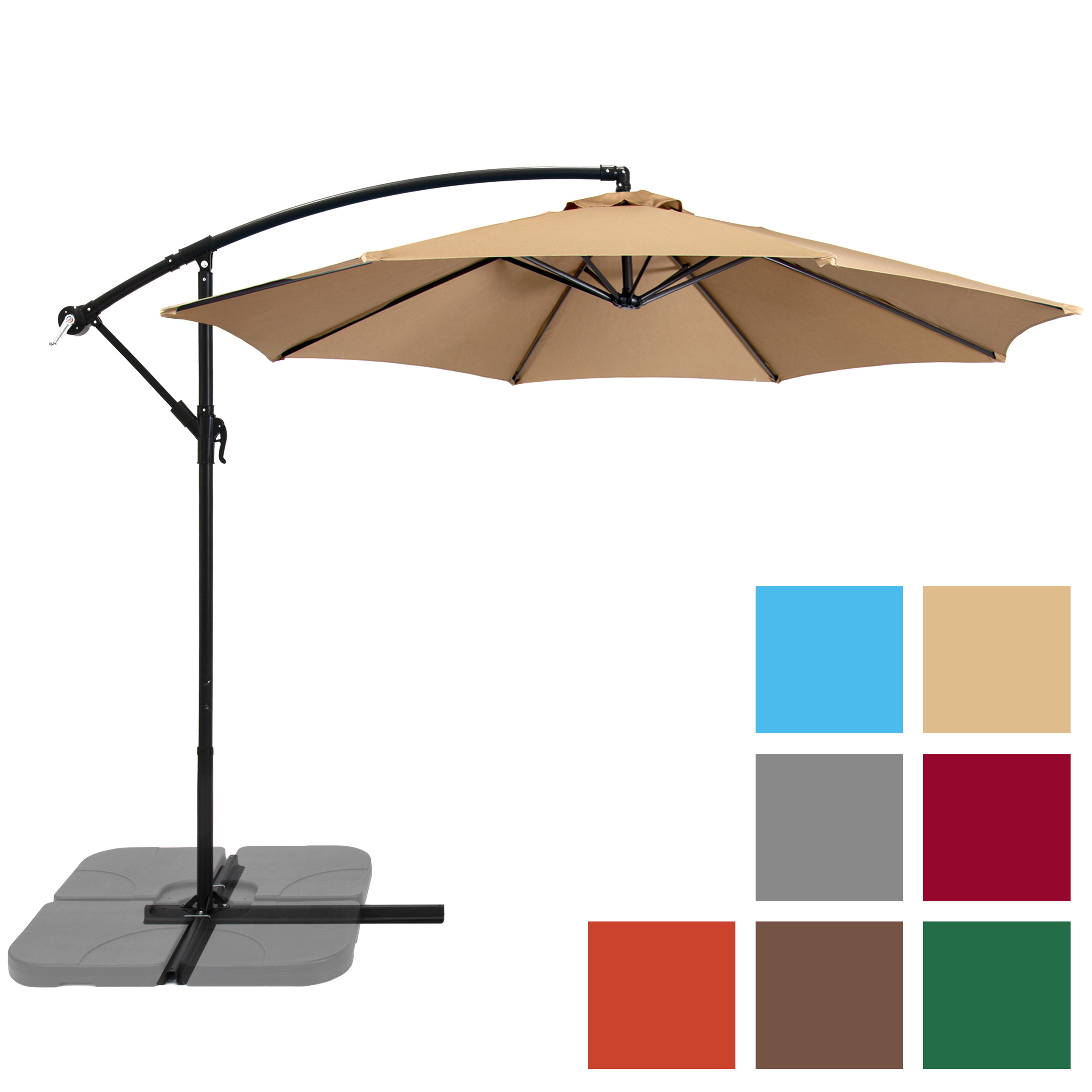 Patio Umbrella Offset 10' Hanging Outdoor Market Umbrella New Multiple Colors by SKY