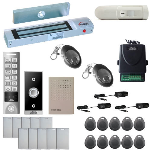 Visionis FPC-5638 One Door Access Control Outswinging Door 300lbs Maglock with VIS-3005 Outdoor Weatherproof Metal Touch Slim Keypad/Reader Standalone No Software with Wireless Receiver and PIR Kit
