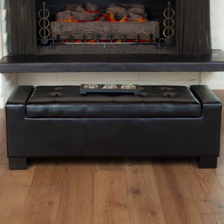 Christopher Knight Home Guernsey Black Bonded Leather Storage Ottoman Bench By