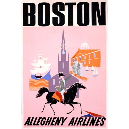 Boston Travel Allegheny Airlines Canvas Art     18 X 24