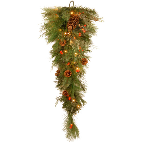 "National Tree 36"" Decorative Collection White Pine Teardrop with 63 Soft White and Red LED Battery Operated Lights"