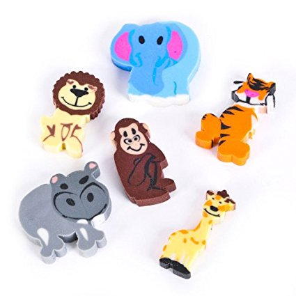 144 Mini Zoo Animal Eraser Assortment